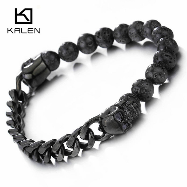Kalen African Black Lava Beads Bracelet Men Stainless Steel Black