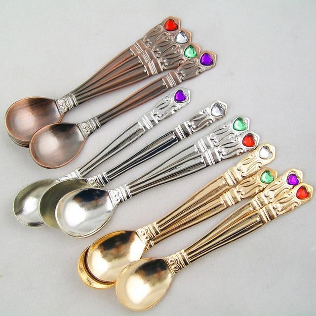 Stainless Steel Cutlery Retro Coffee Spoon Dessert Spoon Golden