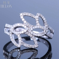 HELON Diamond Ring Solid 14K White Gold Real 0.6ct Diamonds Side By Side Tulip Fancy Ring Setting For Women Fine Jewelry