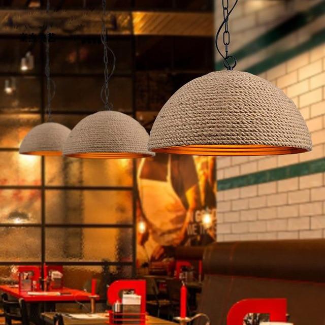 ФОТО American country Vintage iron rope creative art Restaurant Bar garden bar lamp pendant lamp personality