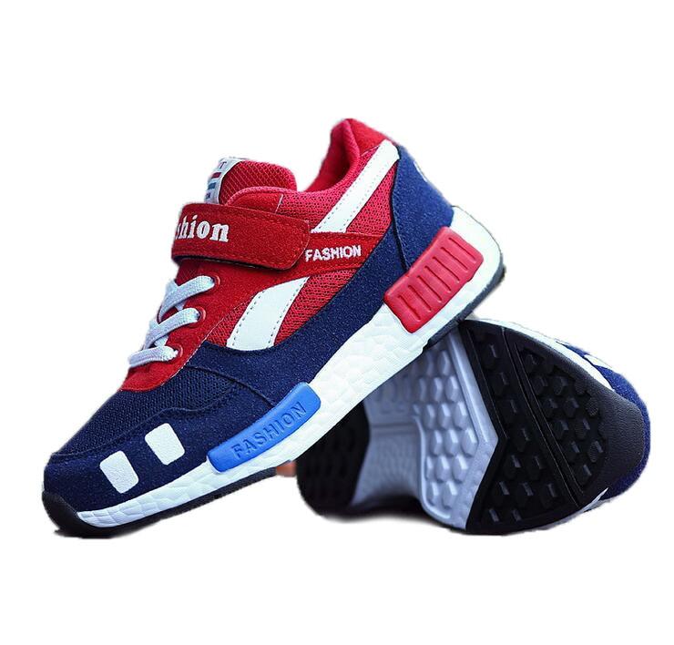 2016 Fashion Patchwork Boys Girls Mesh Shoes Kids Sport Anti-Slippery Bottom Breathable Children School Shoe Free Shipping