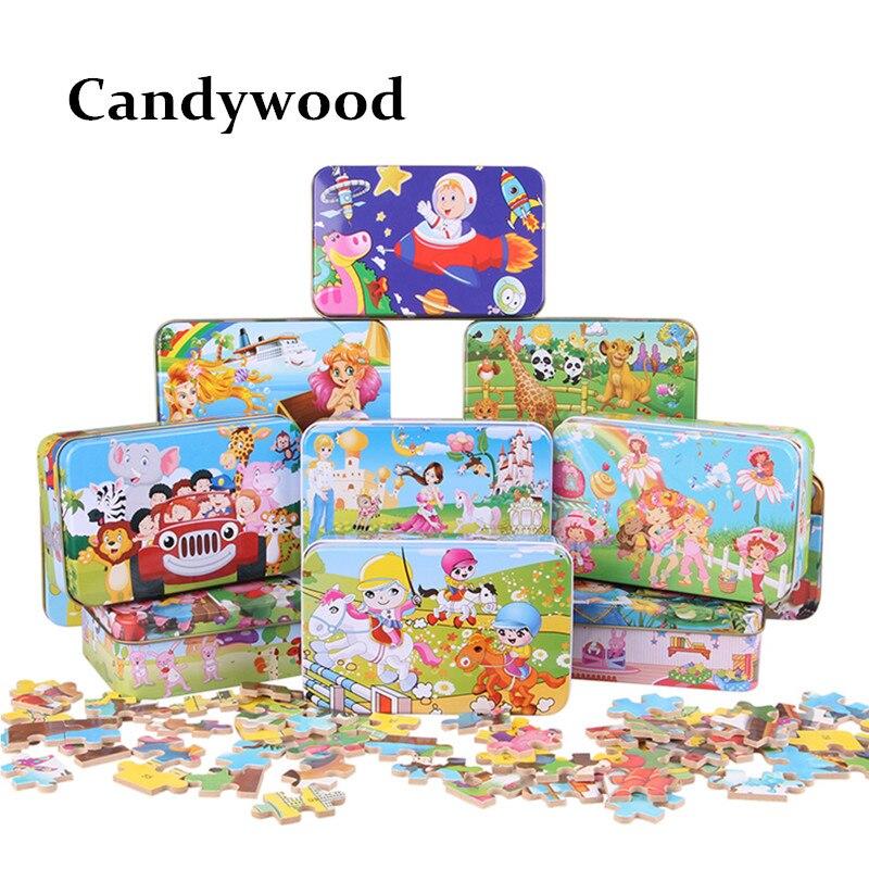 Candywood 60pcs Cizgi filmi Heyvan Puzzle Dəmir Qutusu Uşaqlar - Bulmacalar - Fotoqrafiya 6