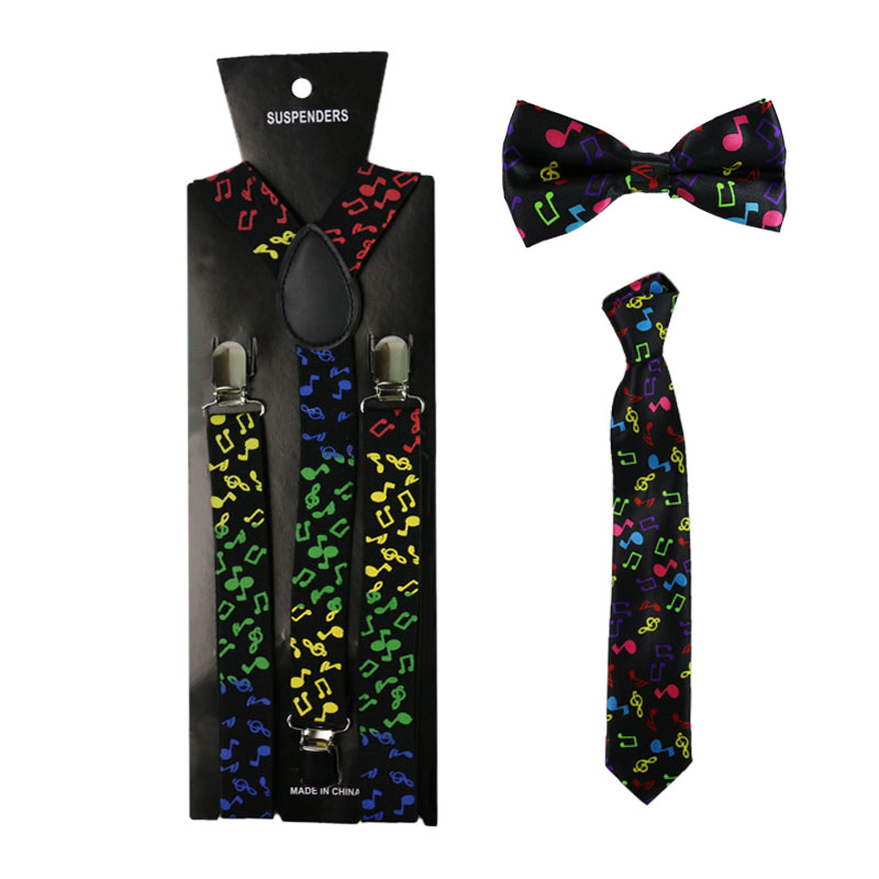 HUOBAO Colorful Music Note Suspenders Bowtie Neck Tie Set Women Men Braces Elastic Suspenders Suspensorio