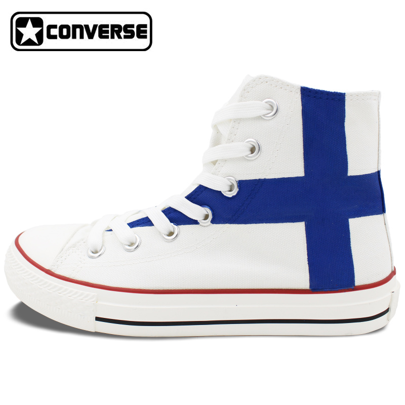 Finland Flag font b Shoes b font Converse Chuck Taylor Man Woman Custom Design Hand Painted