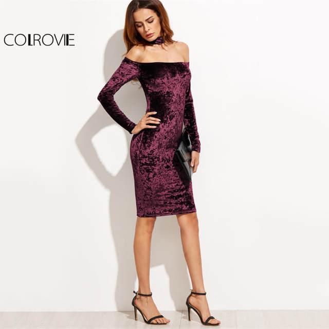 9d59120356ca6 US $15.12 48% OFF COLROVIE Bardot Velvet Bodycon Dress With Choker Women  Sexy Party Club Long Sleeve Dresses Off Shoulder Zip Slim Midi Dress-in ...