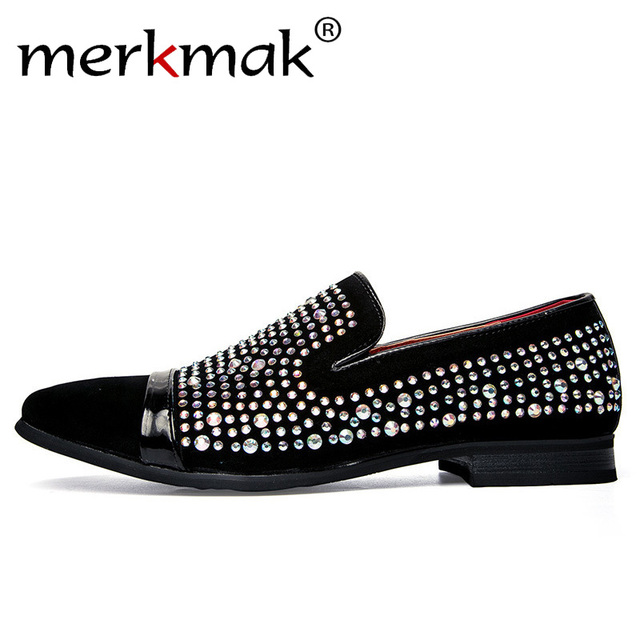 Mens Noble Loafer Shoe - Slip On Flat Heel Rhinestone Shoes
