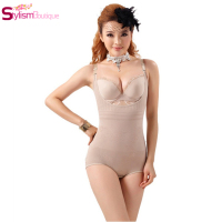 Women Floral Bodysuits Shapewear Underwear Plus Size Body Shaper Waist Training Corsets Buckle In The Crotch