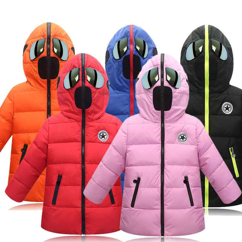 Winter New Children Cotton Coat Special Glasses Hat Girl Jacket Hooded Thick Warm Long Basic Tops Fashion Novelty Free Shipping novelty women men winter warm black full face cover three holes mask beanie hat cap fashion accessory unisex free shipping