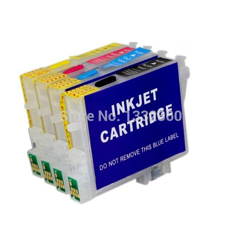 Vilaxh T0601-T0604 cartouche d'encre rechargeable pour epson stylet C88 CX3800 CX3810 CX4200 CX4800 CX5800F CX7800 avec puce