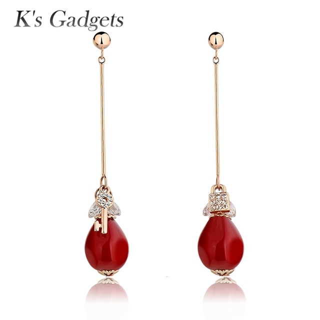 Rose Gold Color Jewelry Long Drop Earrings Austrian Crystal Rhinestone Fashion Red Artificial C Dangle