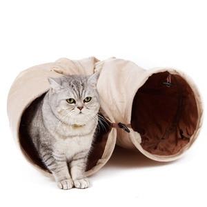 Image 5 - 높은 품질 애완 동물 터널 긴 120 cm 2 구멍 고양이 강아지 토끼 티저 재미 있은 숨기기 터널 장난감 공 collapsible 고양이 터널