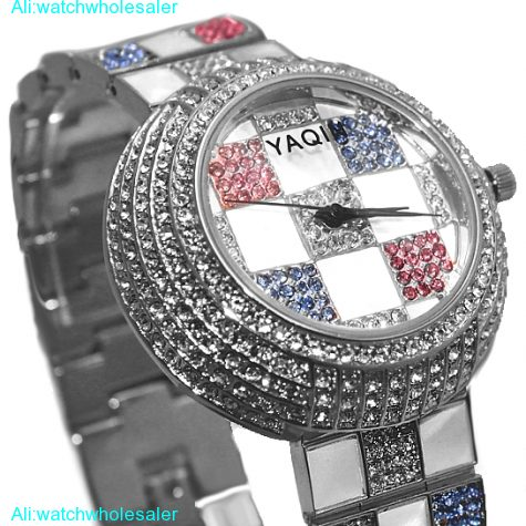 FW854B New Round White Dial Ladies Women Colorful Crystal twinkle Bracelet Watch