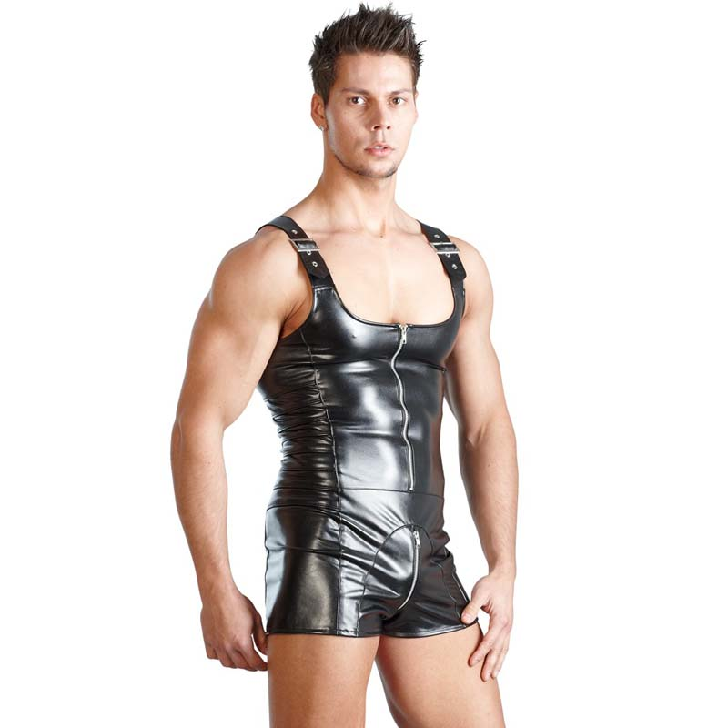 Mens Underwear Boxers Lmitation Leather Mens Wrestling Singlet Sexy Body Stocking Crotchless Lingerie Bodysuit zebra underwear