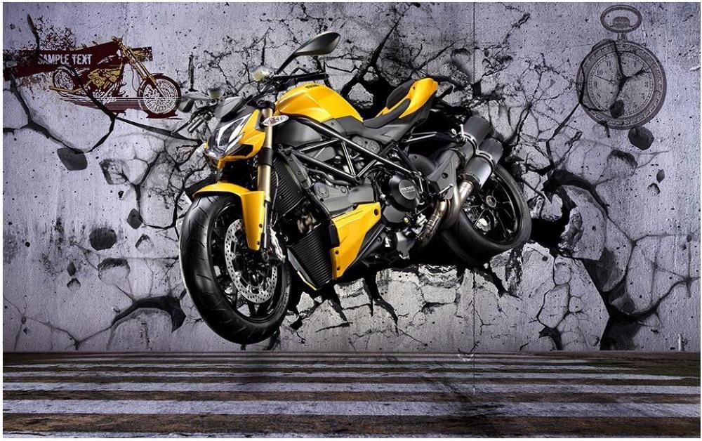 3d Sepeda Motor Keren Dinding Kamar Wallpaper Kustom Foto Mural