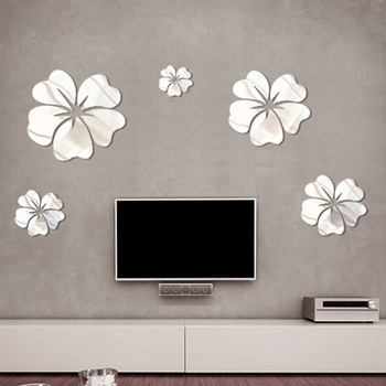 5 Pcs PVC Flower Mirror Flower Pattern Wall Sticker 3D Home Decoration Wall Art DIY Silver Mirror Wall Stickers 1