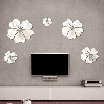 5 Pcs PVC Flower Mirror Flower Pattern Wall Sticker 3D Home Decoration Wall Art DIY Silver Mirror Wall Stickers 1