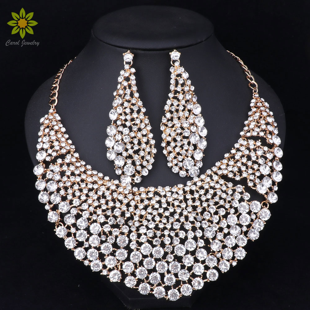 Fashion Bridal Jewelry Sets Wedding Necklace Earring For Brides Party Accessories Gold Color Crystal Indian Women DecorationFashion Bridal Jewelry Sets Wedding Necklace Earring For Brides Party Accessories Gold Color Crystal Indian Women Decoration