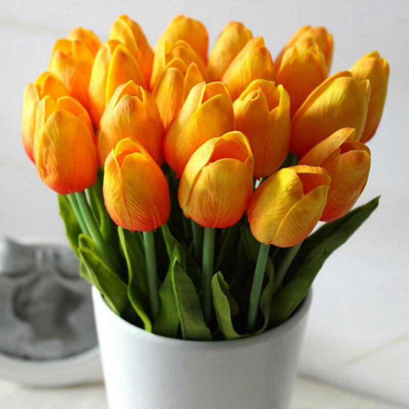뜨거운 판매 30 개 / 몫 인공 꽃 미니 튤립 잎 꽃 - 휴일 파티 용품 - 사진 3