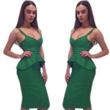 Seamyla 2018 Sexy Bandage Dresses Women Sleeveless Celebrity Party Dress Ruffles Vestidos Two Piece Set Bodycon Summer Dress