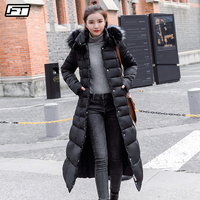 Fitaylor Large Fur Collar Down Cotton Parkas Winter Women Big Faux Fur Hooded With Belt Jackets Female Thick Snow Outwear
