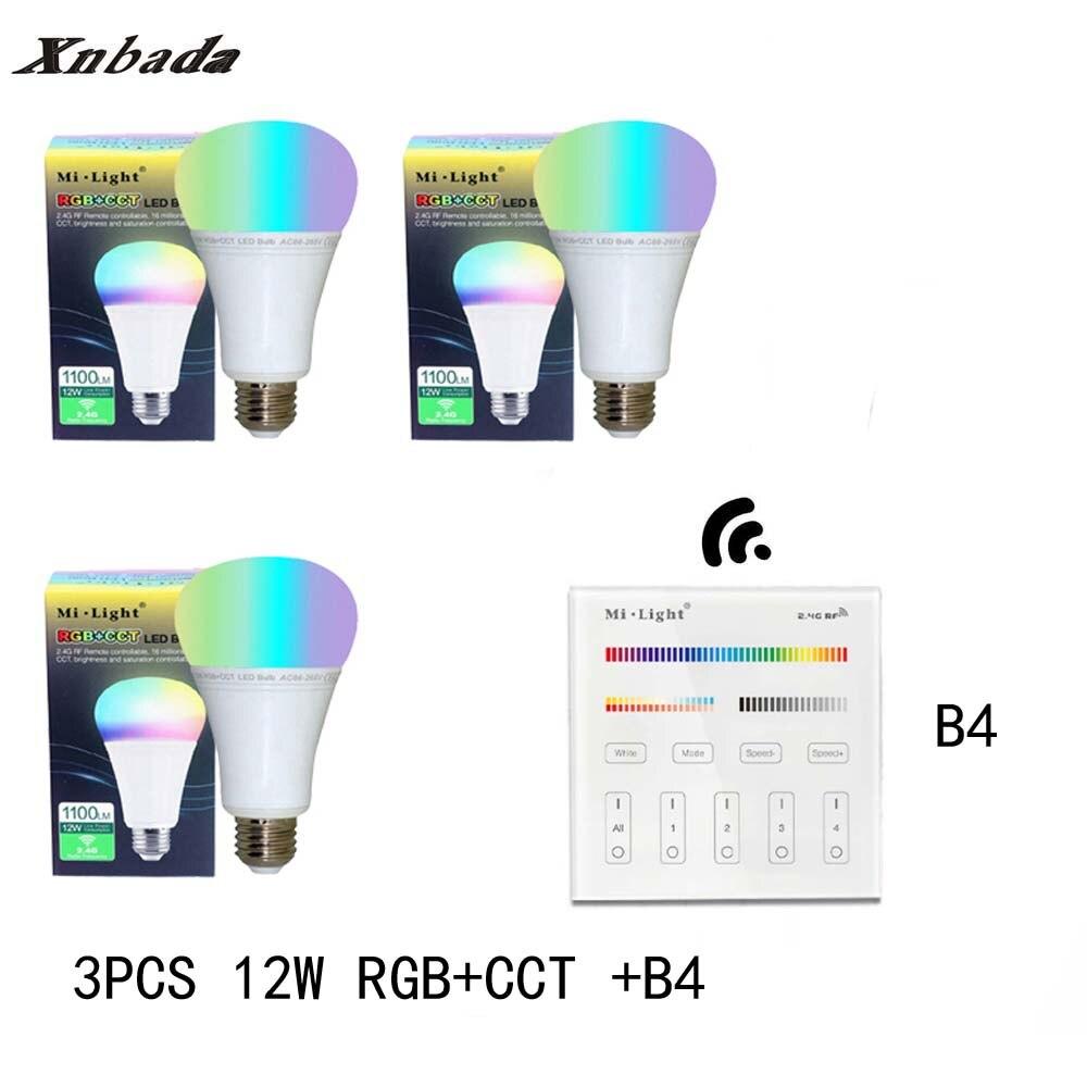 Mi lumière 12 W E27 RGB + CCT Led ampoule Dimmable AC85-265V lampe à Led B4 (3 V) panneau à distance MiLight Led projecteur lumière livraison gratuite - 2