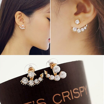 Hot Fashion Fine Jewelry Television Dramas With Sarah Seul Wild Cute Gold Colour Delicate Set Auger Pearl Stud Earrings Woman image