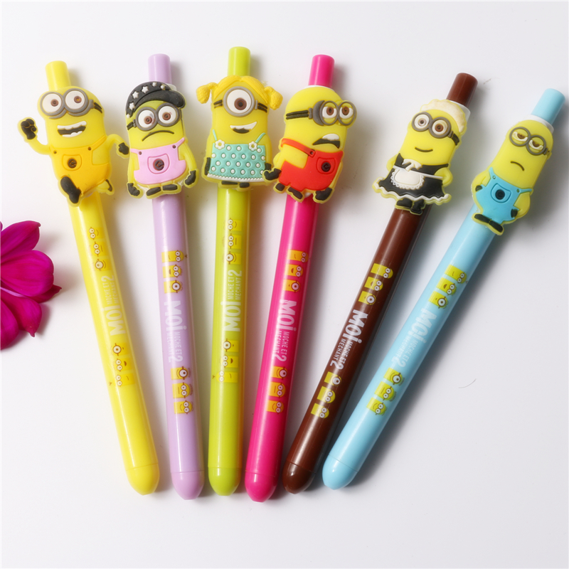 Hot 12pcs Despicable Me Minions Figure Ballpoint Pen Stationery Toy Kid Gifts