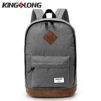 KINGSLONG 2018 New Unisex 15 6 Laptop Backpack Canvas Women Men School Bags Female Gray Black