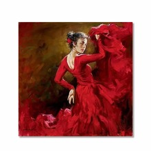 Hand painted Spanish dancer Oil paintings on canvas Lady Flamenco figurative art modern artwork for Wall Home Office Decor