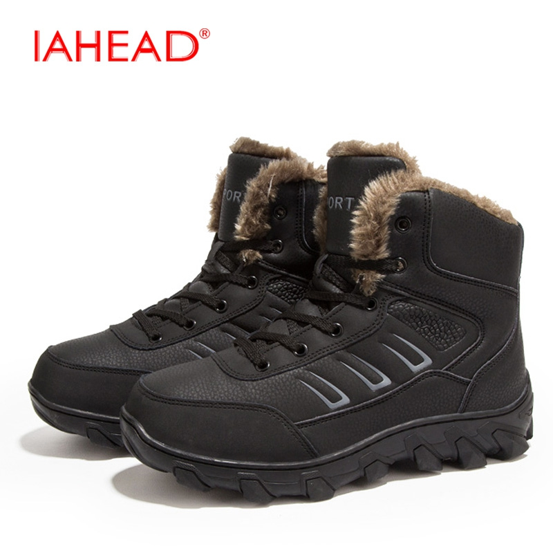 IAHEAD Men Snow Boots Plus Size 39-48 New Winter Warm Shoes Men Ankle Lace-Up Tactical Boots Military Boots Outdoor Shoes MH545 iahead men boots genuine leather flats new casual shoes lace up warm winter boots men plus size 38 48 rain shoes men mh586