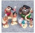 6 Moana pçs/set Personagem de Desenho Animado Princesa Maui Chefe Tui Tala Heihei Pua Action Figure Decoração Brinquedos Para Crianças Presente de Aniversário