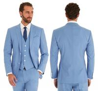 Sky Blue Wedding Suits Slim Fit Bridegroom Tuxedos For Men 3 Pieces Groomsmen Suit Formal Business Male Suits Custom Made