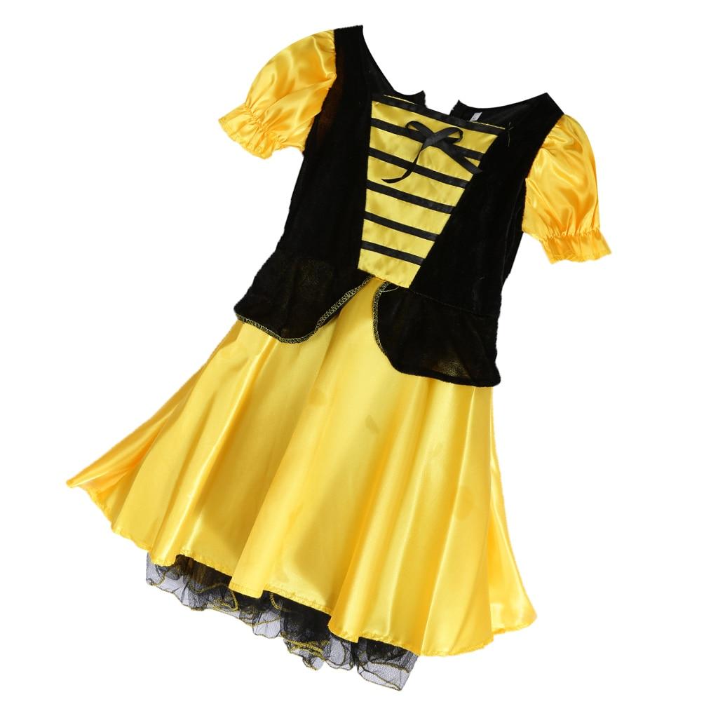 Kids Girls Bumble Bee Party Fancy Dress Halloween Costume Dress Cosplay Suit