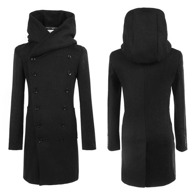 Inverno masculino casaco de pele longo edição Han cultivar a moralidade para engrossar o casaco com capuz de trincheira dos homens de roupas masculinas casaco