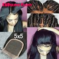 8A 5*5 lace closure straight brazilian 5x5 lace closure with bleached knots free middle 3 part swiss lace closure with baby hair