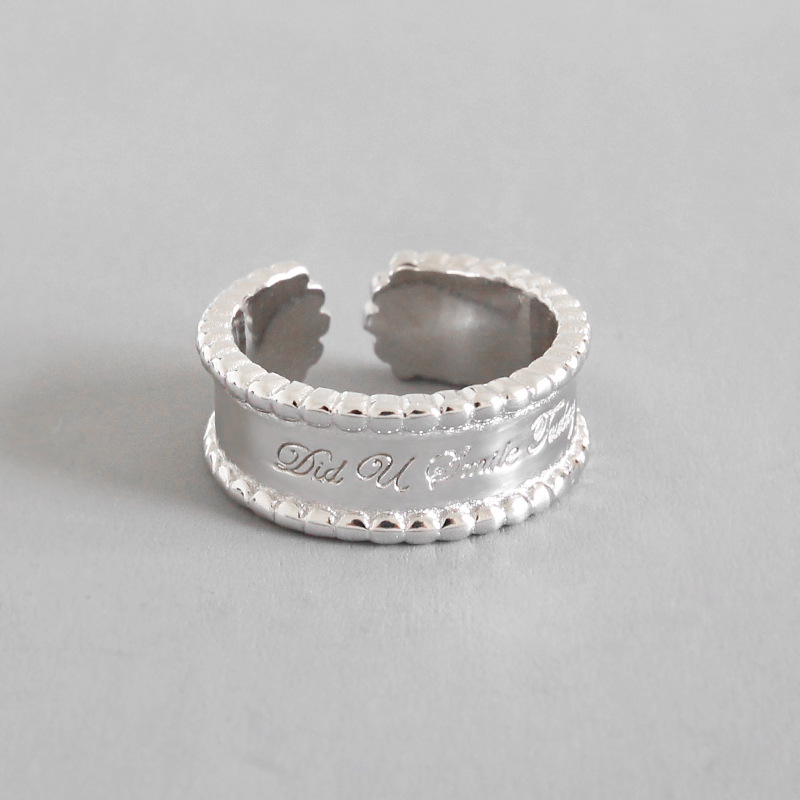100  925 Sterling Silver Letters Rings For Women Anelli