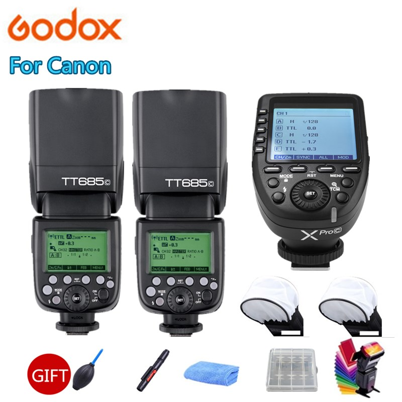 Godox TT685 TT685C Speedlite Flash Da Câmera 2.4G Sem Fio TTL HSS + Xpro-C Transmissor Gatilho Para Canon 80D 800D 70D 700D 60D