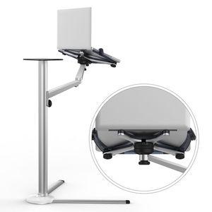 Image 3 - 3 в 1, подставка из алюминиевого сплава для планшетов 7 13 дюймов + держатель для смартфона 3,5 6 дюймов + напольная подставка для ноутбука 10 15,6 дюймов, Поворотный шарнир с лотком для мыши