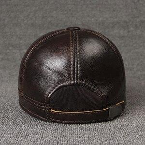 Image 5 - SILOQIN 調整可能なサイズのメンズ 100% 本革キャップ冬暖かい野球イヤーマフ牛革革帽子とキャップ男性