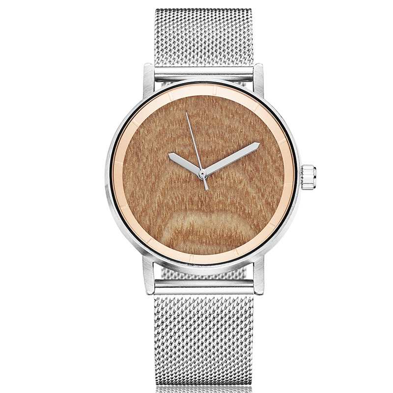 Concept Wood Watch Men Women Wood Watches Couple Wristwatch Lover Clock Natural Wood Wave Wooden Dial Stainless Steel Mesh Watch