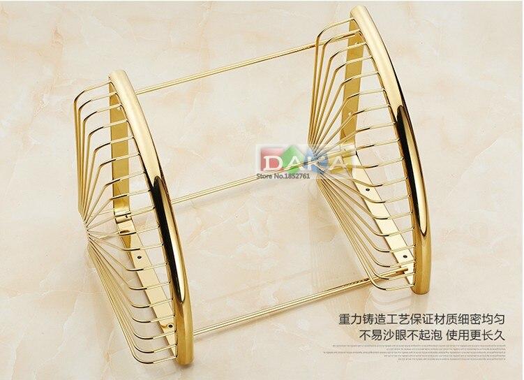 Di lusso oro finitura accessori bagno doccia shampoo e cosmetici scaffale basket holder/ottone materiale doppio disegno angolo ripiani - 4