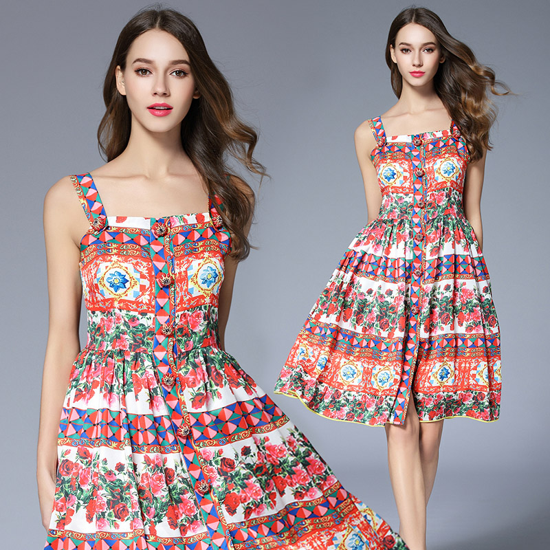 Brand Luxury Dress 2018 Summer Dress Princess Queen Palace Wind Rose Garden Printed Diamond Clasp Decoration Silk Halter Dress