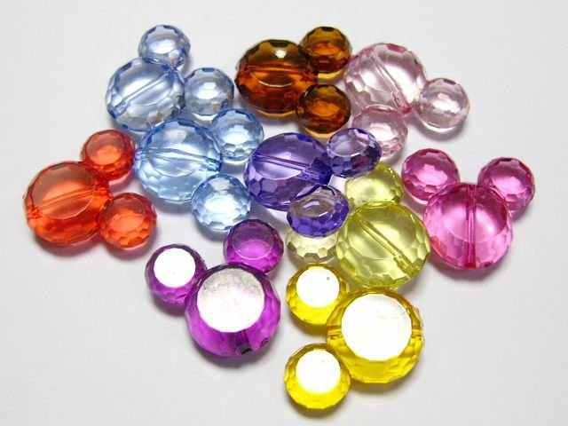 "10 Campuran Warna Transparan Acrylic Mouse Charm Beads 36mm (1.42 "")"