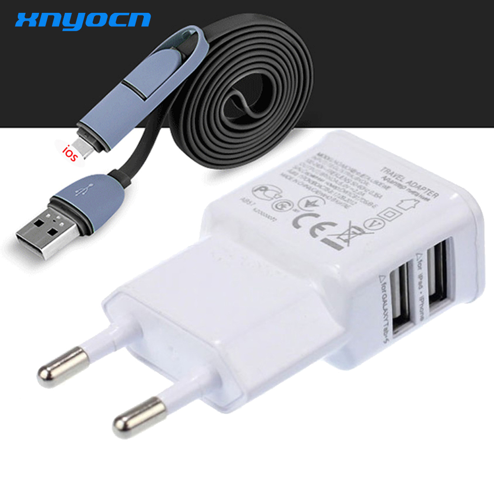 1Set 5V 2A EU Dual Port Travel Wall Charger 1M Flätad Micro 2-i-1 USB-kabel för laddning Samsung S7 S6 För iPhone 6s 7 Charger