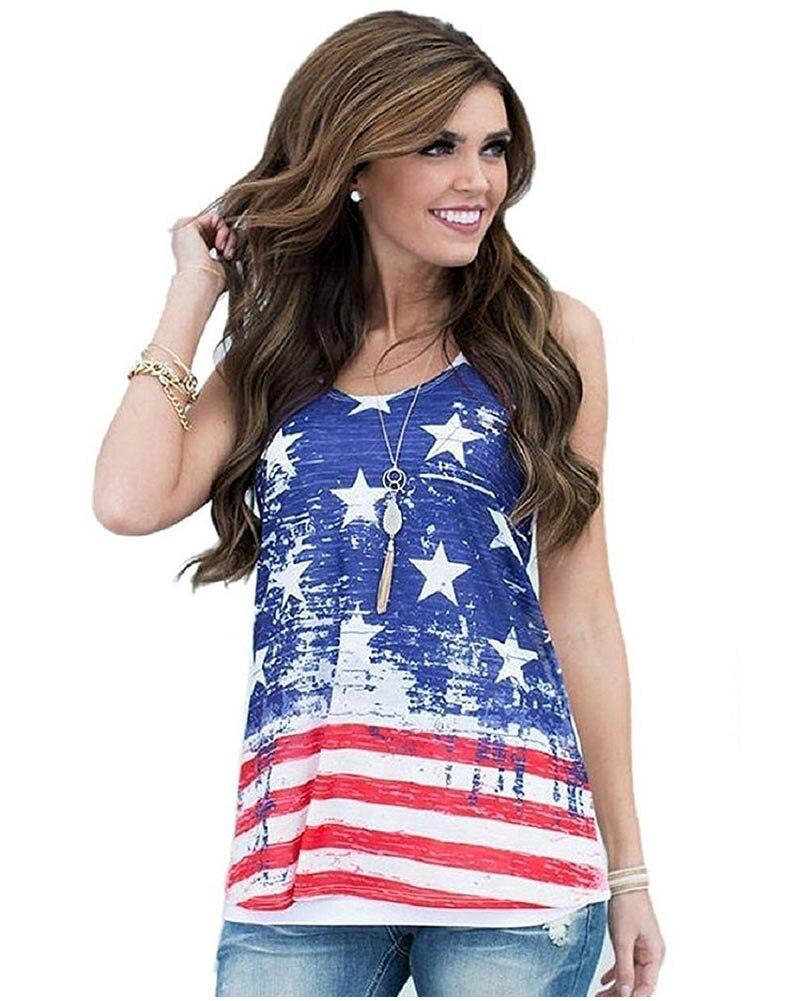 Hitmebox 2018 Baru Fashion Wanita Stars Stripes Usa Tanpa Lengan Woman Basic Tank Top Polos Tali Kecil Lebar Women Camisol Colorful All Size Shirts Amerika Flag Juli Keempat Tee Di Tops Dari Pakaian