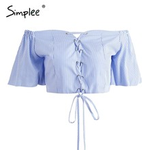 Simplee Zomer lace up blauw streep crop top Sexy off shoulder hollow out bow tank top Vrouwen casual strand korte flare mouw top(China)