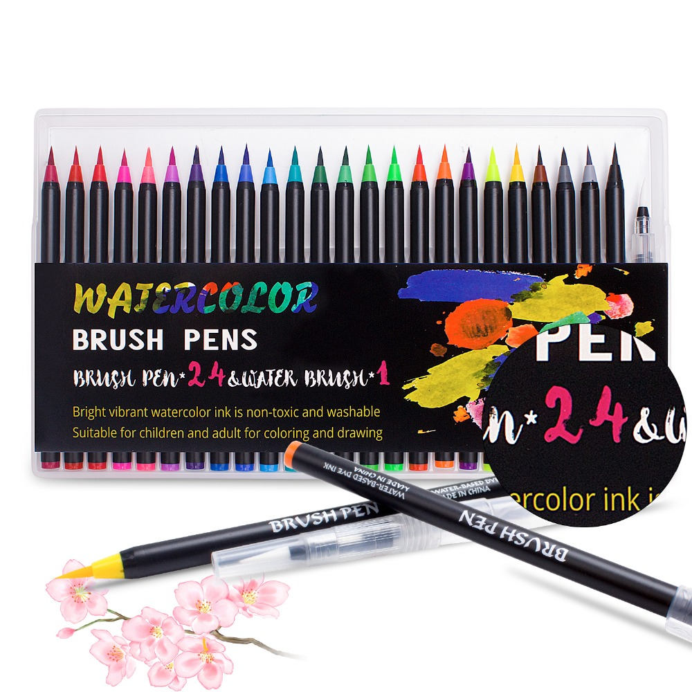 Brush Pens 24 Colors Watercolor Pens and 1 Water Brush to Color Draw Comic Calligraphy Lettering Pen DesignBrush Pens 24 Colors Watercolor Pens and 1 Water Brush to Color Draw Comic Calligraphy Lettering Pen Design