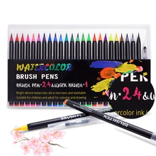 Brush Pens 24 Colors Watercolor Pens and 1 Water Brush to Color Draw Comic Calligraphy Lettering Pen Design