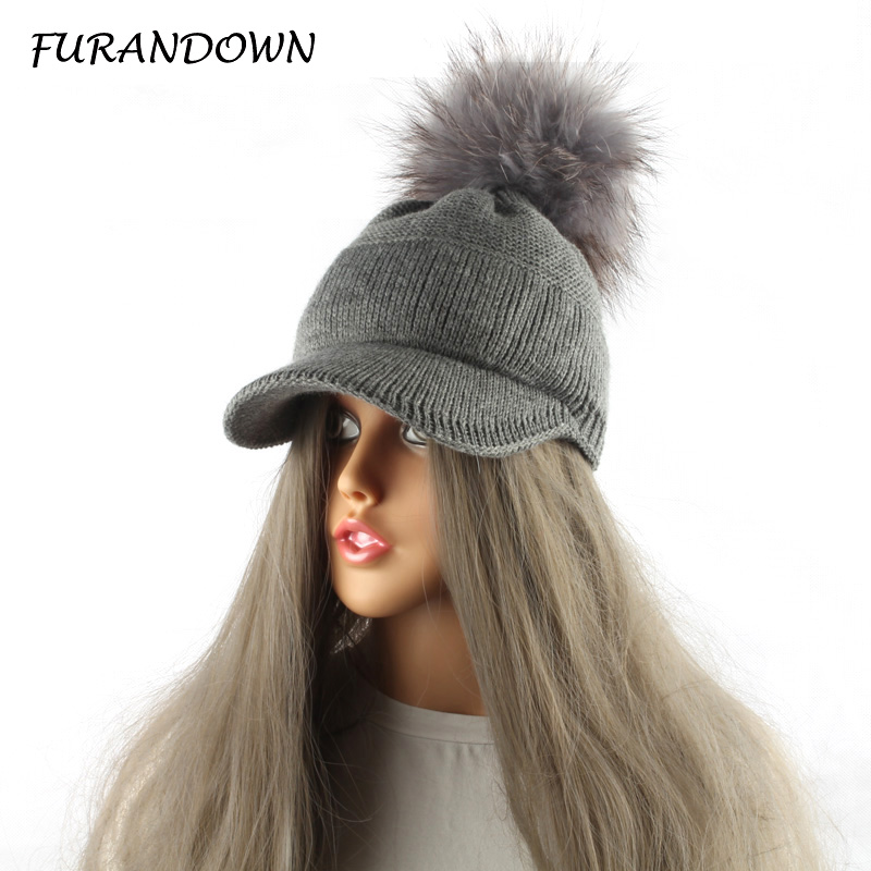 FURANDOWN 2017 New Real Fur Pom pom Cap For Women Spring Autumn Baseball Cap With Raccoon