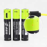 ZNTER 1,5 V AAA usb Akku 600 mAh USB Aufladbare Lithium-Polymer Batterie Schnell Lade durch Micro USB Kabel